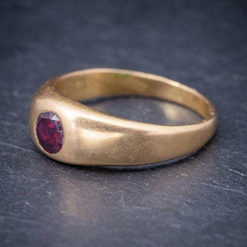 Antique Victorian Ruby Ring 18ct Gold 0.60ct Ruby Circa 1900 SIDE