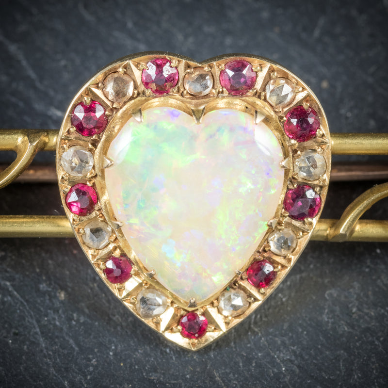 Antique Victorian Ruby Sapphire Opal Heart Brooch 18ct Gold