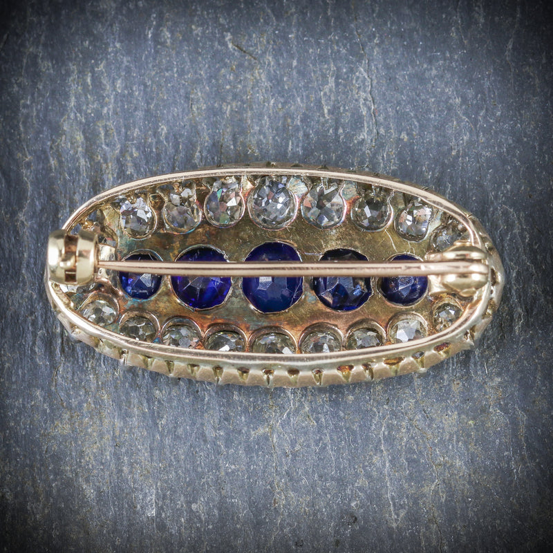 ANTIQUE VICTORIAN SAPPHIRE DIAMOND BROOCH CIRCA 1900 BACK