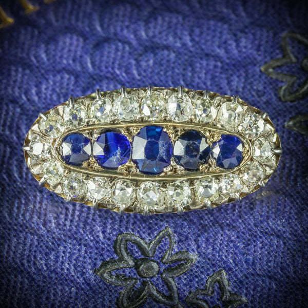 ANTIQUE VICTORIAN SAPPHIRE DIAMOND BROOCH CIRCA 1900 COVER