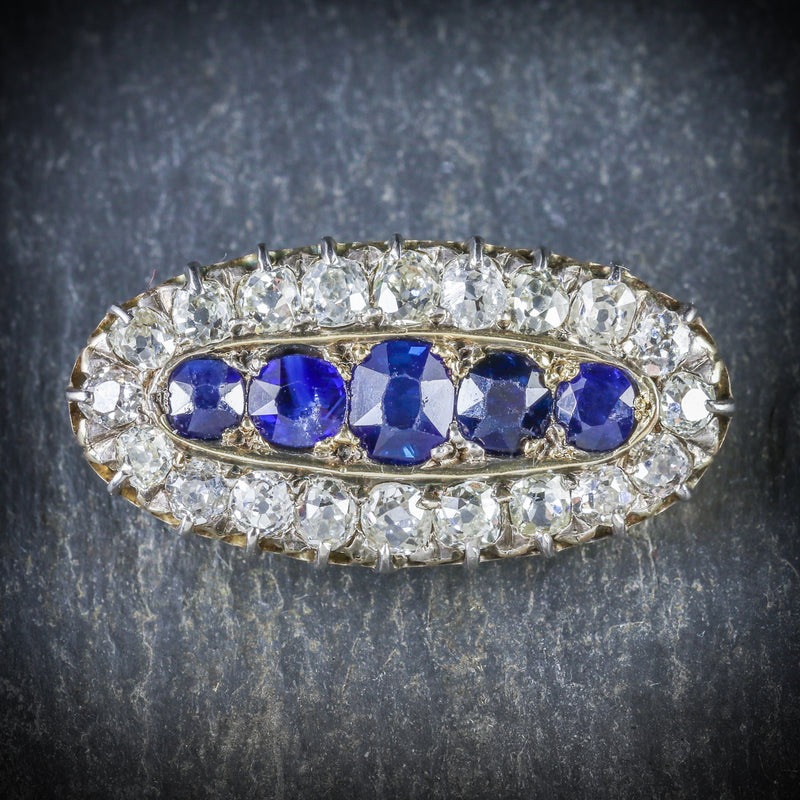 ANTIQUE VICTORIAN SAPPHIRE DIAMOND BROOCH CIRCA 1900 FRONT