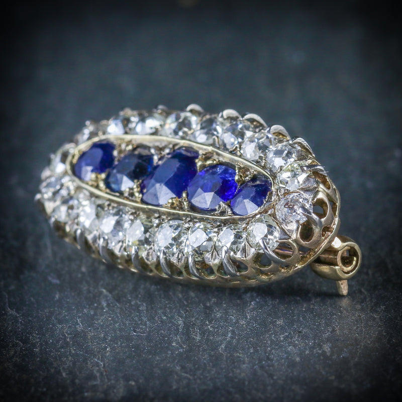 ANTIQUE VICTORIAN SAPPHIRE DIAMOND BROOCH CIRCA 1900 SIDE