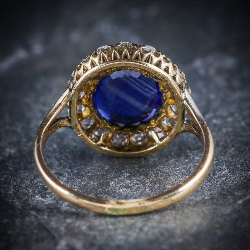 ANTIQUE VICTORIAN SAPPHIRE DIAMOND CLUSTER RING CIRCA 1880 BACK