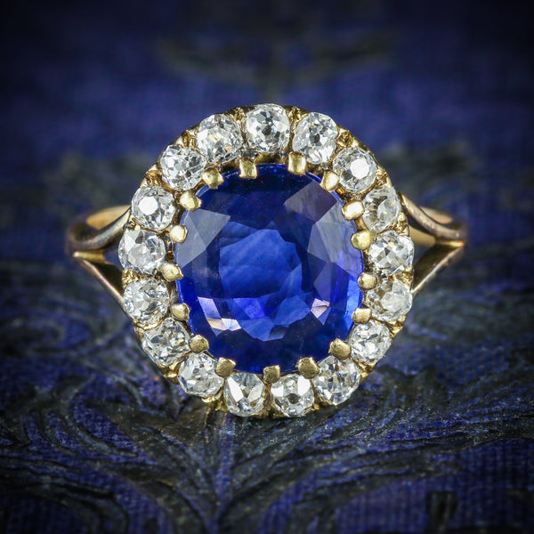 ANTIQUE VICTORIAN SAPPHIRE DIAMOND CLUSTER RING CIRCA 1880 COVER
