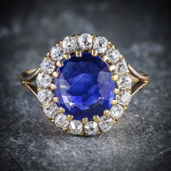 ANTIQUE VICTORIAN SAPPHIRE DIAMOND CLUSTER RING CIRCA 1880 FRONT