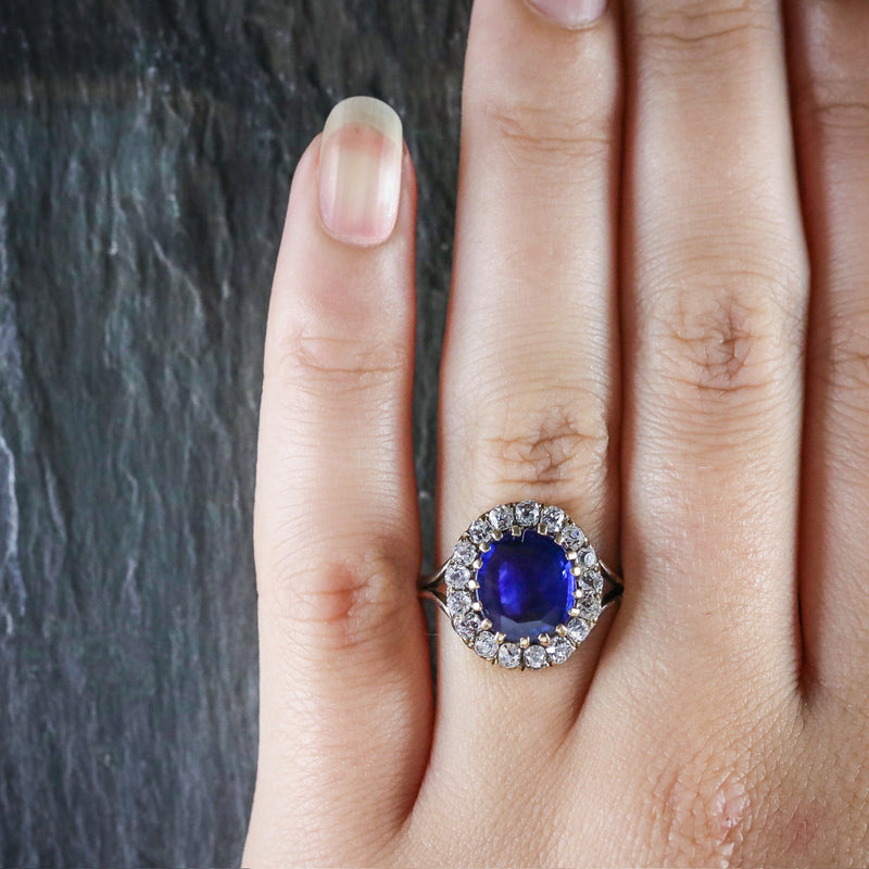 ANTIQUE VICTORIAN SAPPHIRE DIAMOND CLUSTER RING CIRCA 1880 HAND