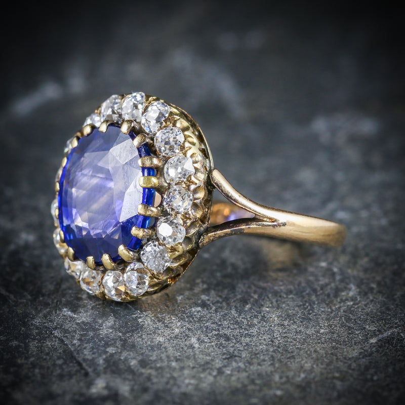 ANTIQUE VICTORIAN SAPPHIRE DIAMOND CLUSTER RING CIRCA 1880 SIDE