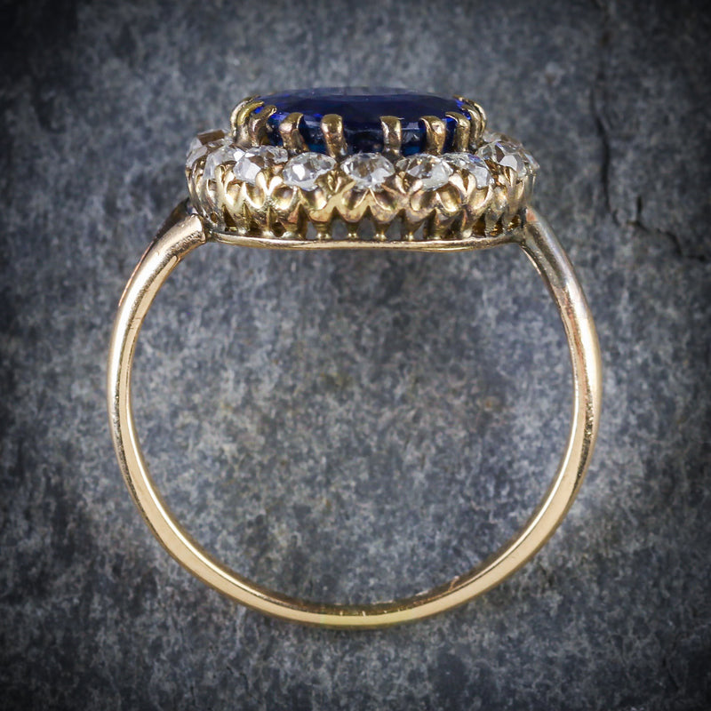 ANTIQUE VICTORIAN SAPPHIRE DIAMOND CLUSTER RING CIRCA 1880 TOP