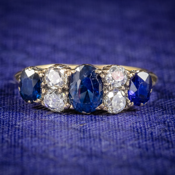 Antique Victorian Sapphire Diamond Five Stone Ring 18ct Gold Circa 1900 COVER
