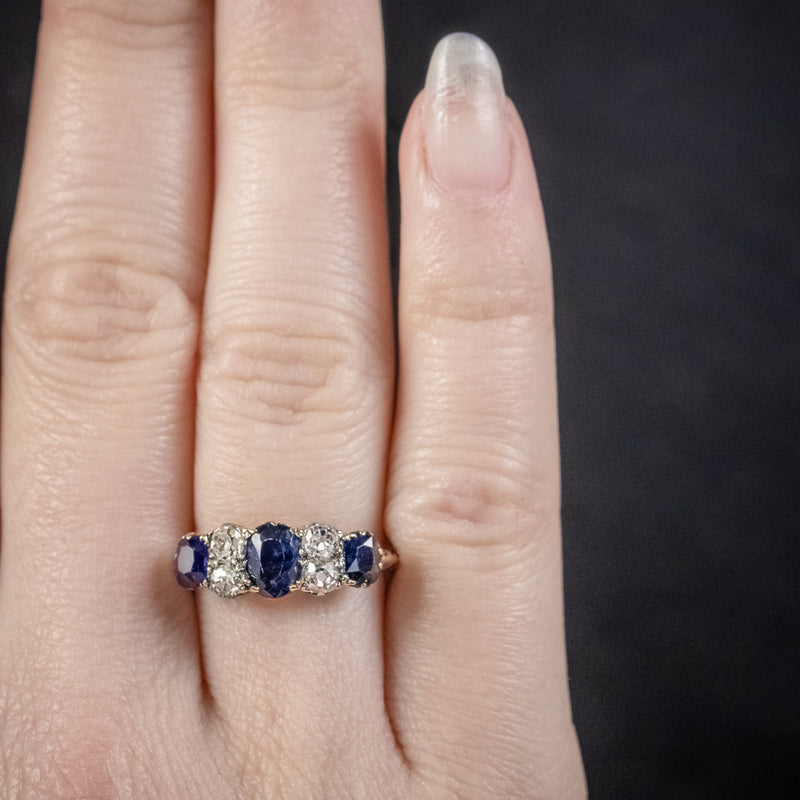 Antique Victorian Sapphire Diamond Five Stone Ring 18ct Gold Circa 1900 HAND