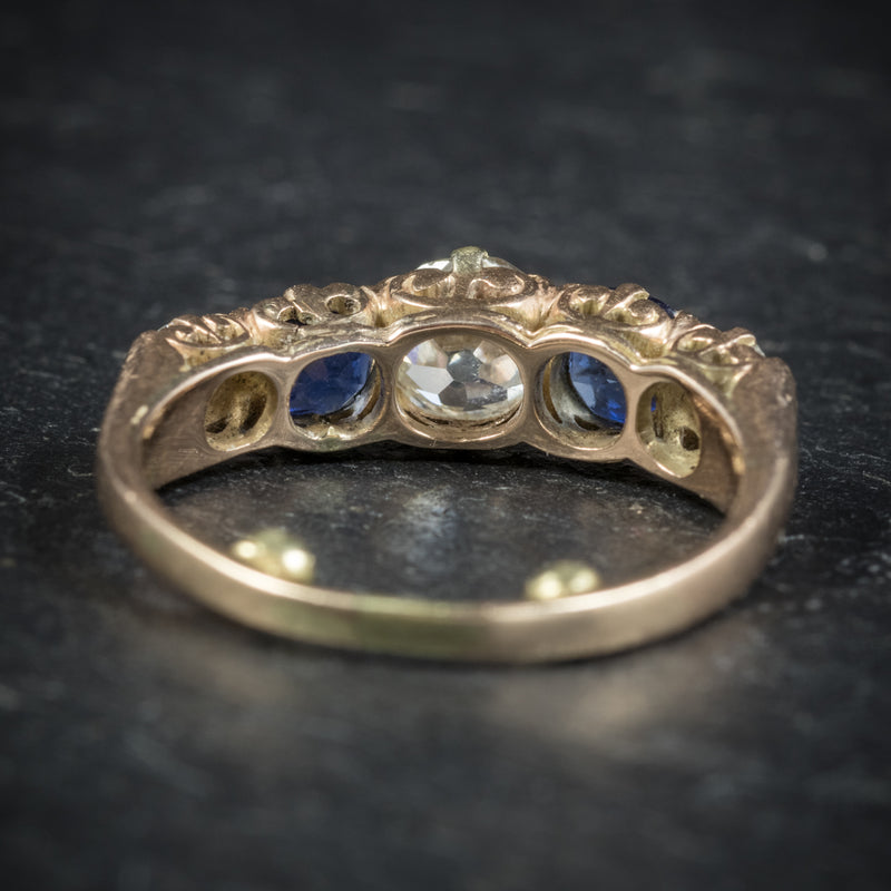 Antique Victorian Sapphire Diamond Ring 14ct Gold back