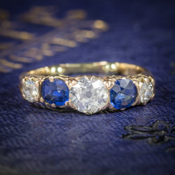 Antique Victorian Sapphire Diamond Ring 14ct Gold COVER