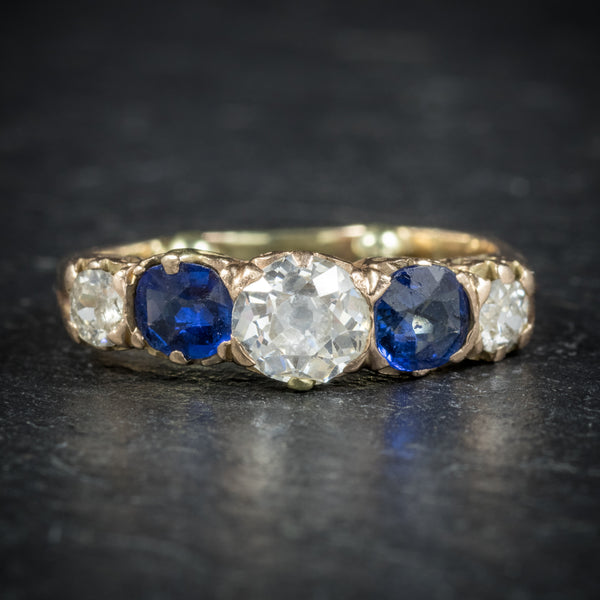 Antique Victorian Sapphire Diamond Ring 14ct Gold front