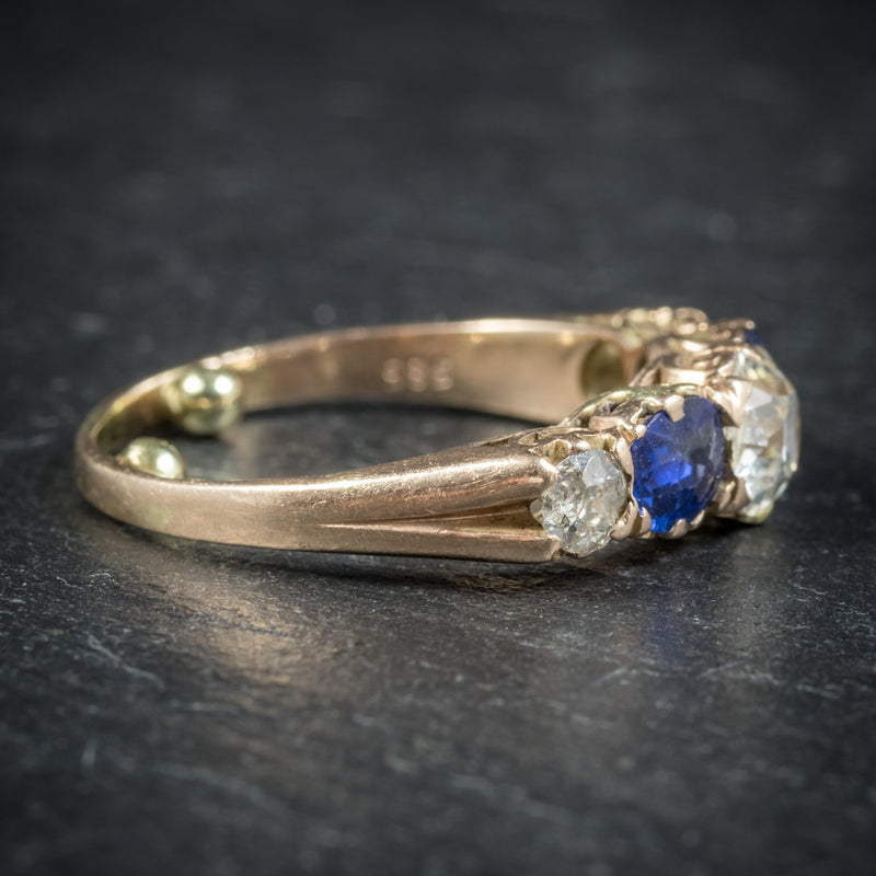 Antique Victorian Sapphire Diamond Ring 14ct Gold side2