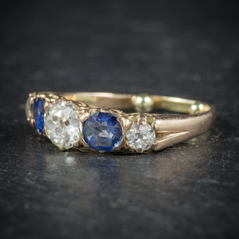 Antique Victorian Sapphire Diamond Ring 14ct Gold side