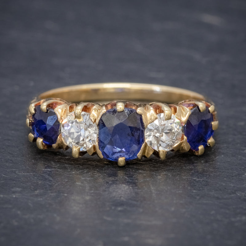 Antique Victorian Sapphire Diamond Ring 18ct Gold 1.20ct Sapphire Circa 1900 FRONT