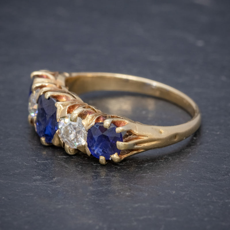 Antique Victorian Sapphire Diamond Ring 18ct Gold 1.20ct Sapphire Circa 1900 SIDE
