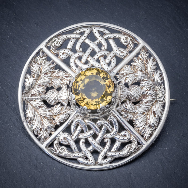 Antique Victorian Scottish Cairngorm Brooch Silver Dated Glasgow 1901 front