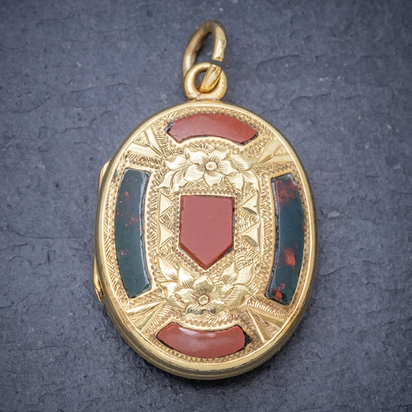 Antique Victorian Scottish Mourning Locket 9ct Gold On Silver Circa 1860 front