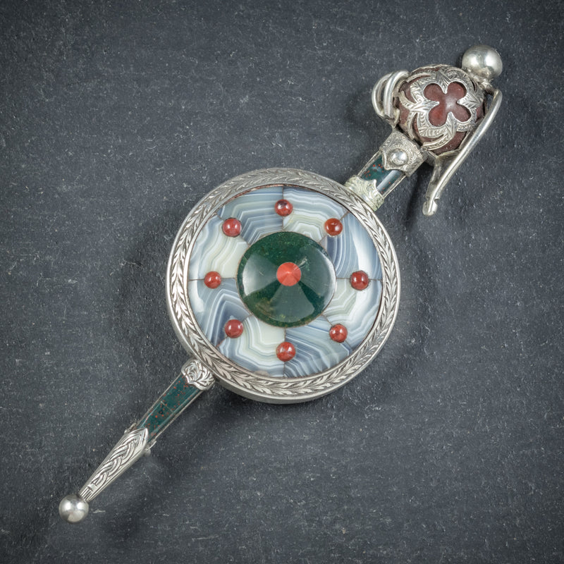 Antique Victorian Scottish Shield and Sword Brooch Circa 1860
