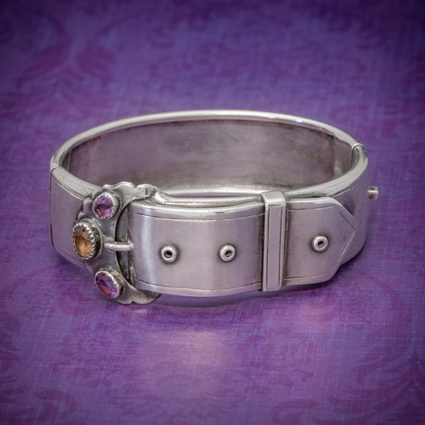 ANTIQUE VICTORIAN SCOTTISH SILVER BUCKLE BANGLE AMETHYST CITRINE CIRCA 1860 COVER