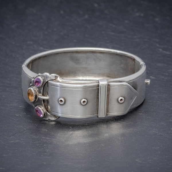 ANTIQUE VICTORIAN SCOTTISH SILVER BUCKLE BANGLE AMETHYST CITRINE CIRCA 1860 FRONT