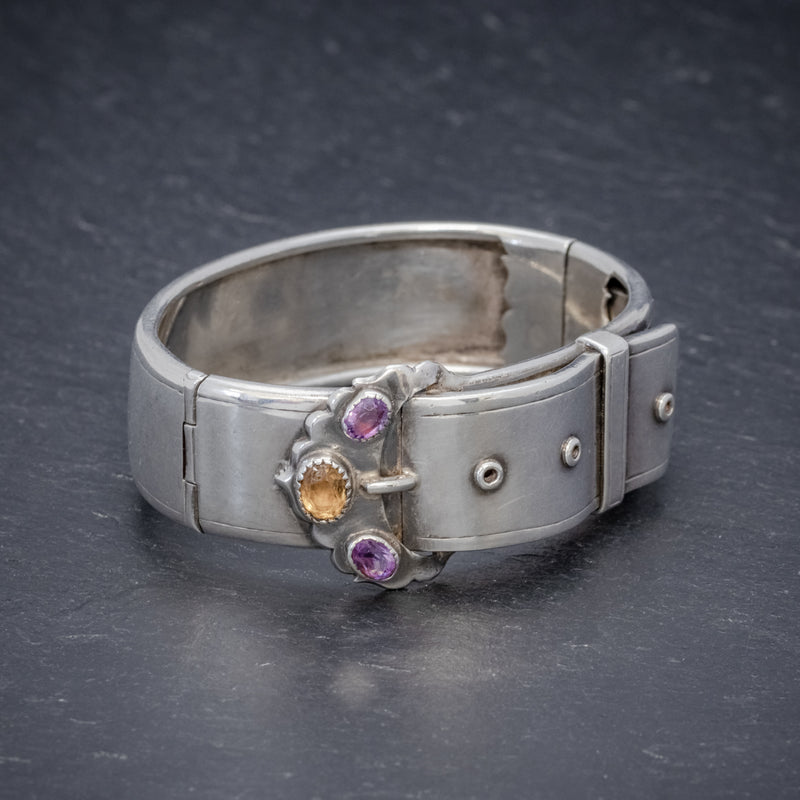 ANTIQUE VICTORIAN SCOTTISH SILVER BUCKLE BANGLE AMETHYST CITRINE CIRCA 1860 SIDE