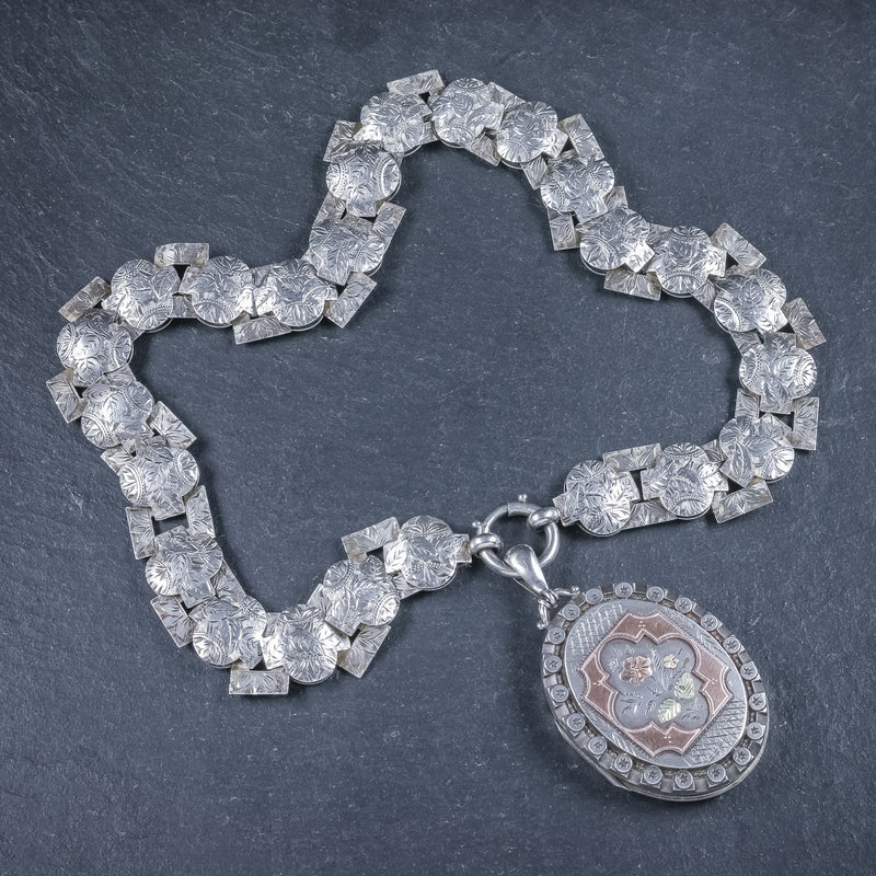 Antique Victorian Silver Locket Collar Forget Me Not Necklace Circa 1860 FRONT