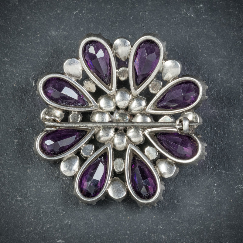 Antique Victorian Silver Paste Amethyst Brooch Circa 1900 back