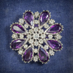 Antique Victorian Silver Paste Amethyst Brooch Circa 1900 cover