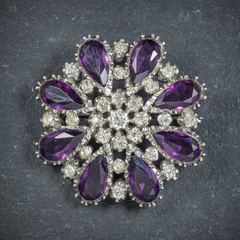 Antique Victorian Silver Paste Amethyst Brooch Circa 1900 front