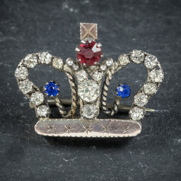 Antique Victorian Paste Stone Crown Brooch Circa 1900
