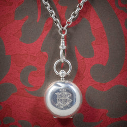 ANTIQUE VICTORIAN STERLING SILVER SOVEREIGN LOCKET NECKLACE AND GUARD CHAIN BIRMINGHAM 1907 COVER