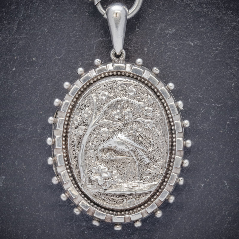 Antique Victorian Stork Locket Collar Sterling Silver Necklace Circa 1900 LOCKET