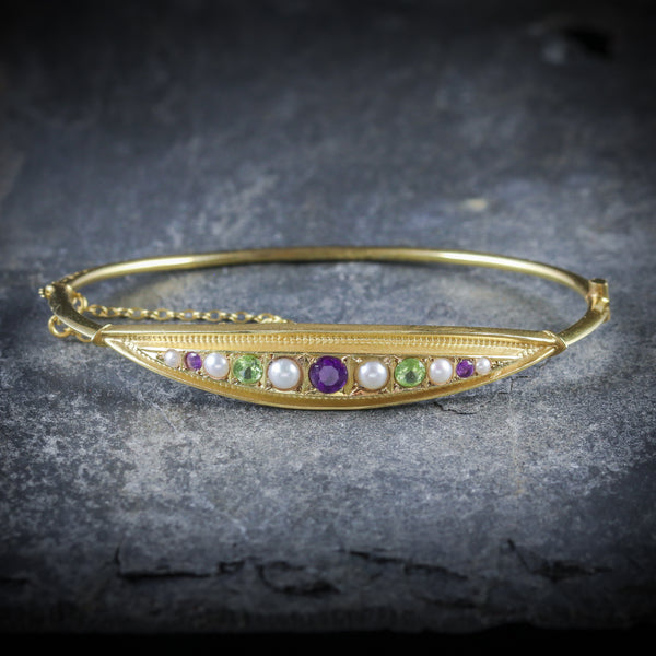 ANTIQUE VICTORIAN SUFFRAGETTE BANGLE AMETHYST PEARL PERIDOT FRONT