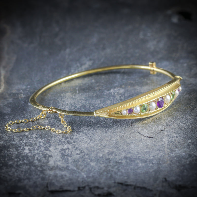 ANTIQUE VICTORIAN SUFFRAGETTE BANGLE AMETHYST PEARL PERIDOT SIDE