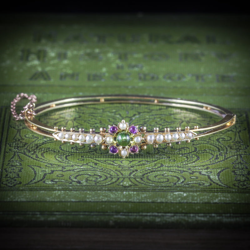 ANTIQUE VICTORIAN SUFFRAGETTE BANGLE AMETHYST PERIDOT PEARL 15CT GOLD COVER