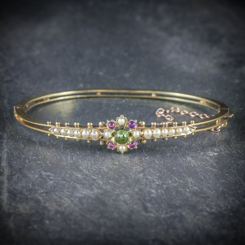 ANTIQUE VICTORIAN SUFFRAGETTE BANGLE AMETHYST PERIDOT PEARL 15CT GOLD FRONT
