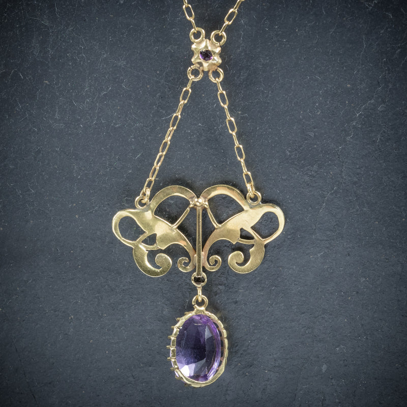 Antique Victorian Suffragette Pendant Necklace Amethyst Circa 1900 BACK