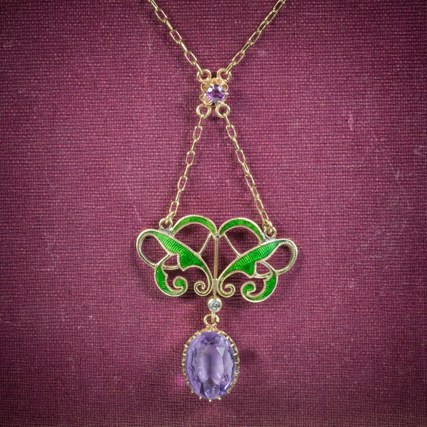 Antique Victorian Suffragette Pendant Necklace Amethyst Circa 1900 COVER