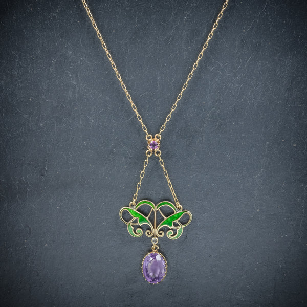 Antique Victorian Suffragette Pendant Necklace Amethyst Circa 1900 NECK
