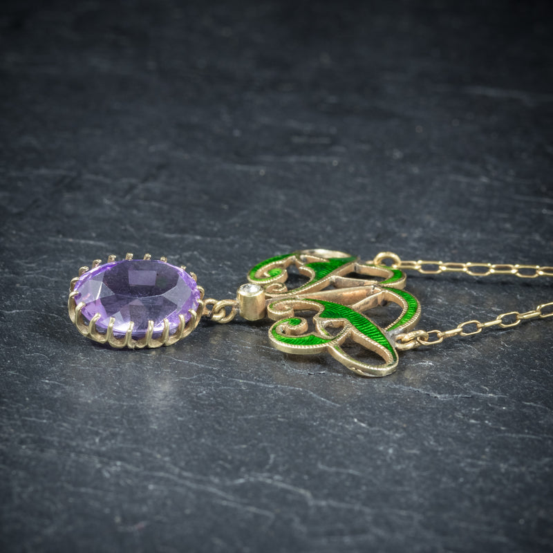 Antique Victorian Suffragette Pendant Necklace Amethyst Circa 1900 SIDE