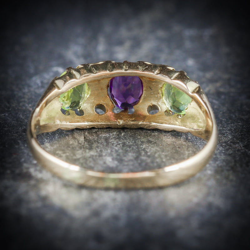 ANTIQUE VICTORIAN SUFFRAGETTE RING AMETHYST PERIDOT DIAMOND 18CT GOLD BACK