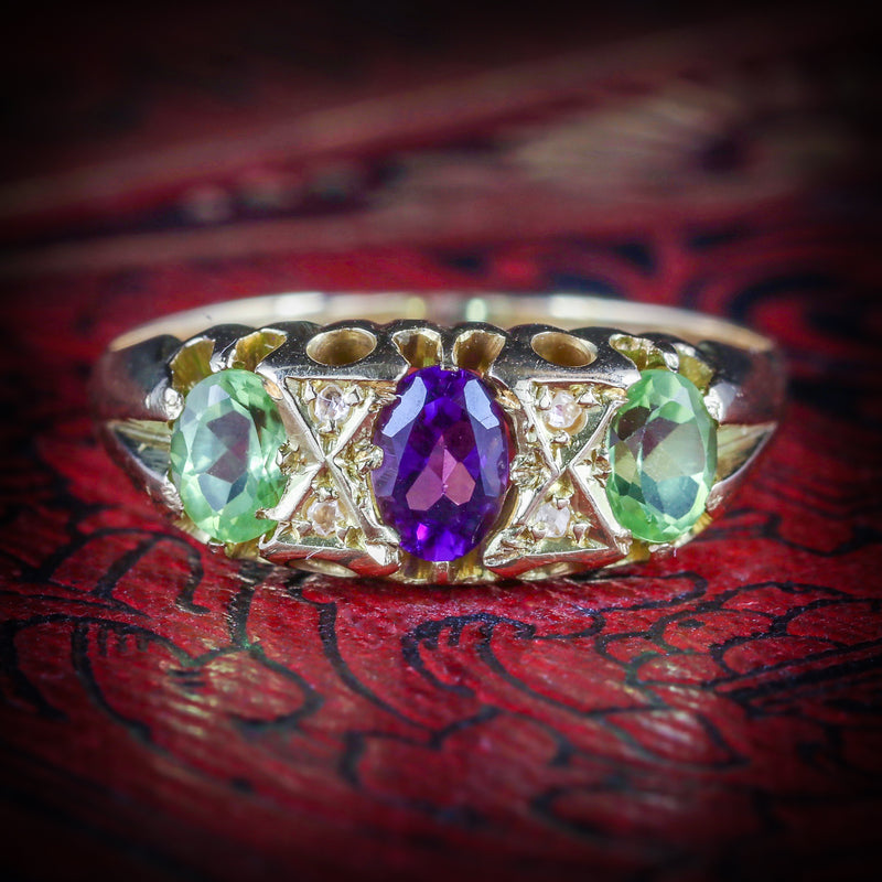 ANTIQUE VICTORIAN SUFFRAGETTE RING AMETHYST PERIDOT DIAMOND 18CT GOLD COVER