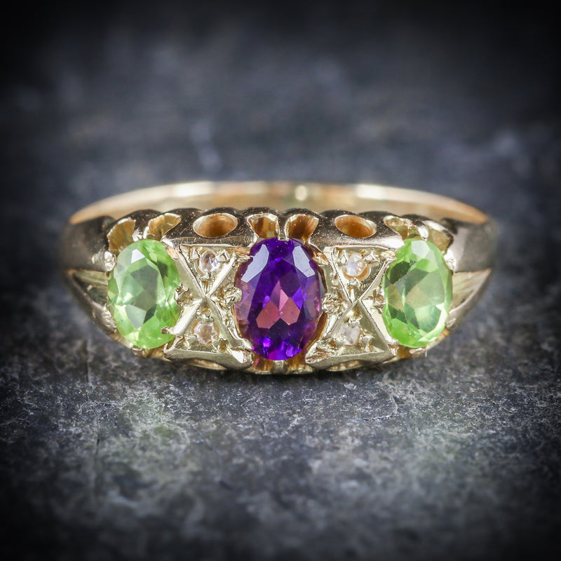 ANTIQUE VICTORIAN SUFFRAGETTE RING AMETHYST PERIDOT DIAMOND 18CT GOLD FRONT