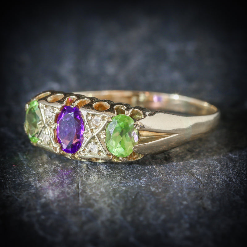 ANTIQUE VICTORIAN SUFFRAGETTE RING AMETHYST PERIDOT DIAMOND 18CT GOLD SIDE