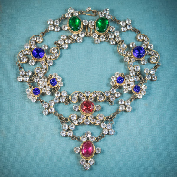 ANTIQUE VICTORIAN THEATRICAL COLOURED PASTE NECKLACE CIRCA 1900 COVER