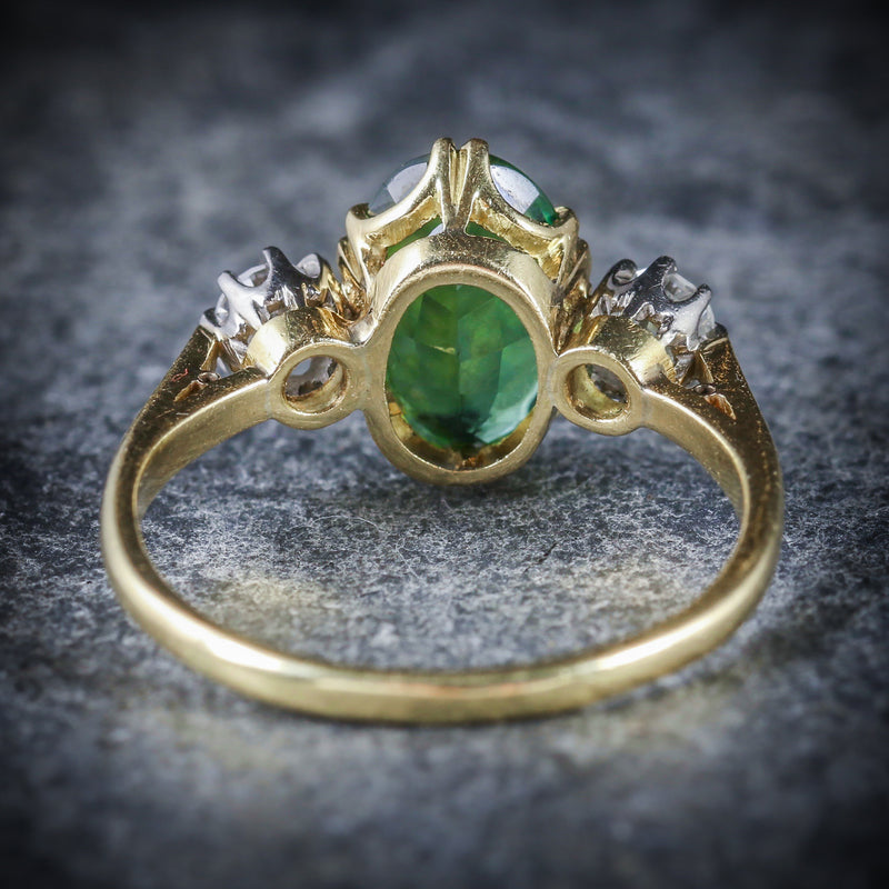 ANTIQUE VICTORIAN TOURMALINE DIAMOND RING 18CT GOLD BACK