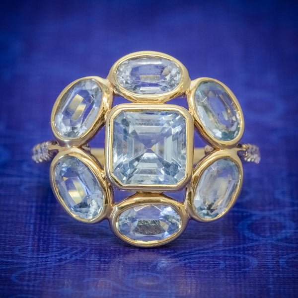 AQUAMARINE DIAMOND CLUSTER RING 18CT GOLD 5.50CT AQUAMARINE CASSANDRA GOAD BOXED COVER