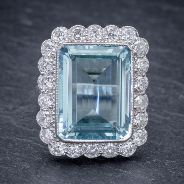 AQUAMARINE DIAMOND COCKTAIL RING 16CT AQUA 2.30CT DIAMOND 18CT WHITE GOLD  FRONT